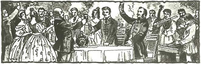 Illustration of a Hungarian Toasting Scene