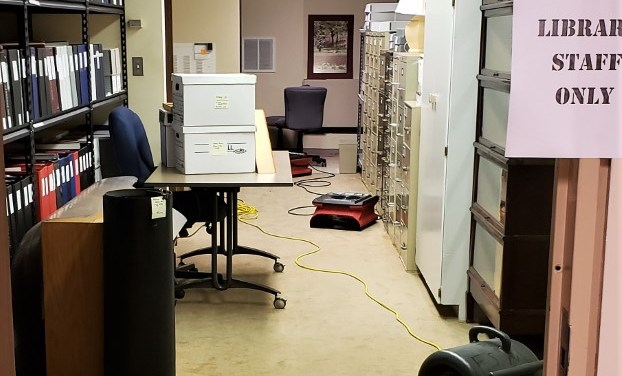 Heavy rain causes flooding in library