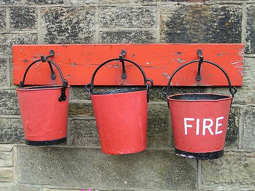 Three Red Fire Buckets