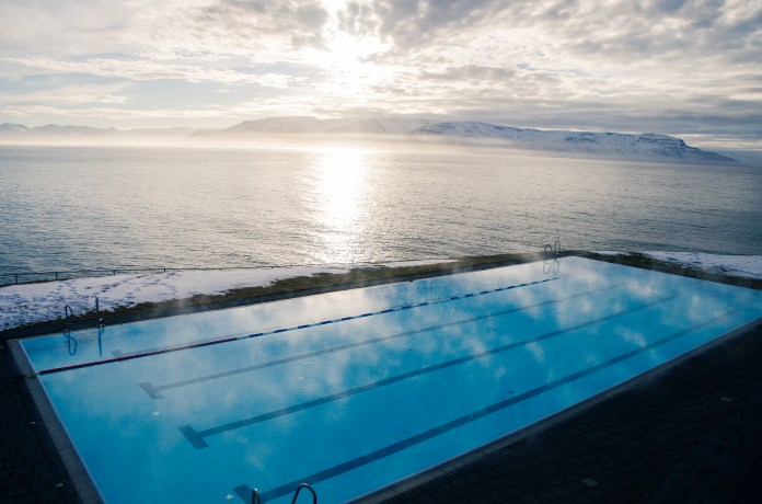 The view of the pool from the roof.