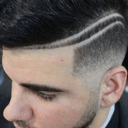 Double shaved lines with comb-over