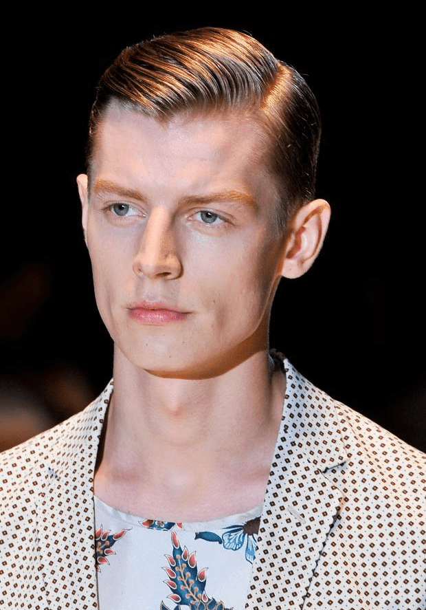 Slick Hair with Side parting
