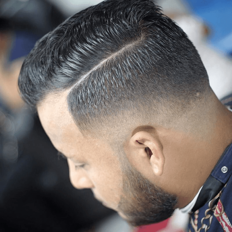 Drop Fade with Slick Side Parting