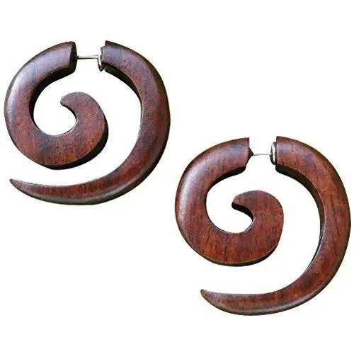 Men's Wooden Earrings