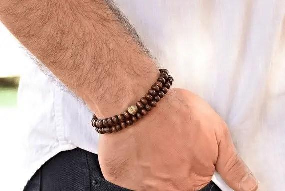 Men's Wooden Beaded Bracelet