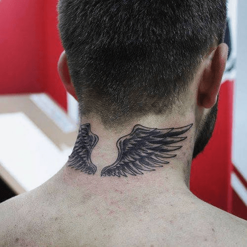 Angel Wings Tattoo On The Back of The Neck