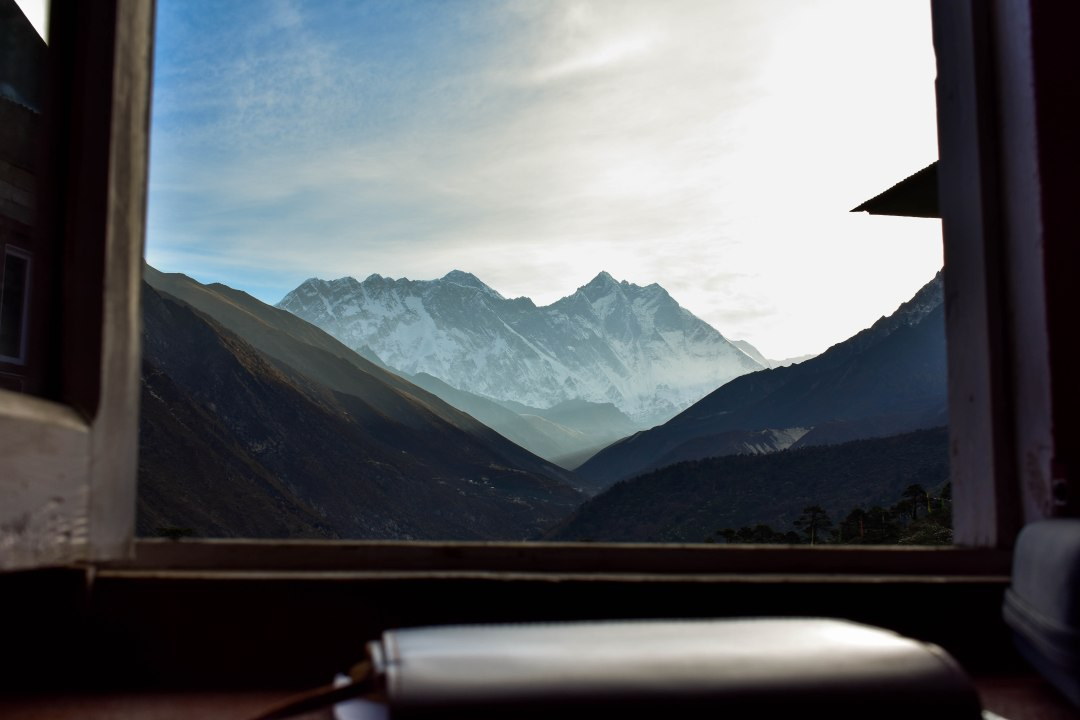 The view from a teahouse while on the Everest Base Camp Trek in Tengboche, Nepal.