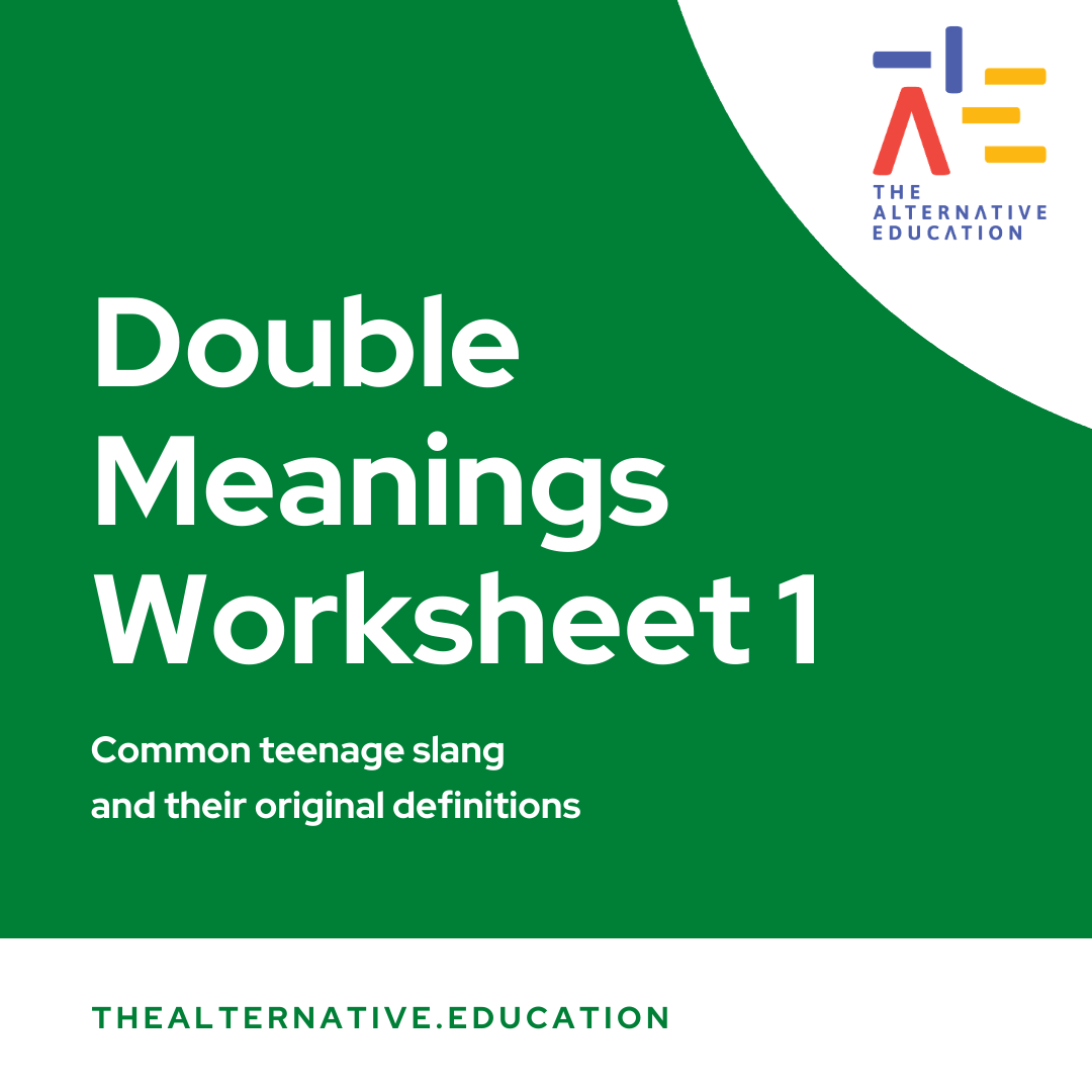 Image with words saying Double Meanings Worksheet 2 and The Alternative Education Logo at the side