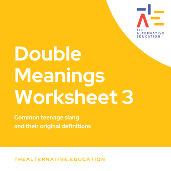 Image with words saying Double Meanings Worksheet 3 with The Alternative Education logo at the side
