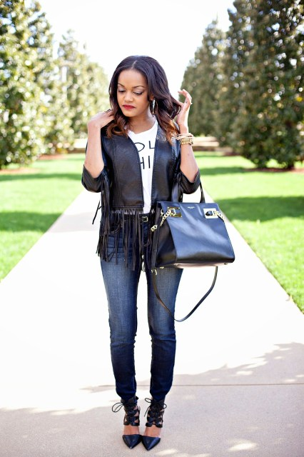 DALLAS FASHION BLOGGER, FASHION BLOGGER, DETROIT FASHION BLOGGER, BLACK FASHION BLOGGER, SPRING FASHION, TREND, FRINGE, FRINGE JACKET, HENRY BENDEL, CURLY HAIR, RED LIP, NARS LIPSTICK, FASHION TREND, JESSICA SIMPSON PUMPS