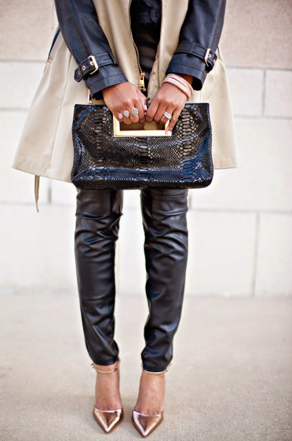 black fashion blogger, fashion blogger, dallas fashion blogger, trench coat with leather sleeves, leather leggings, metallic shoes, kendra scott