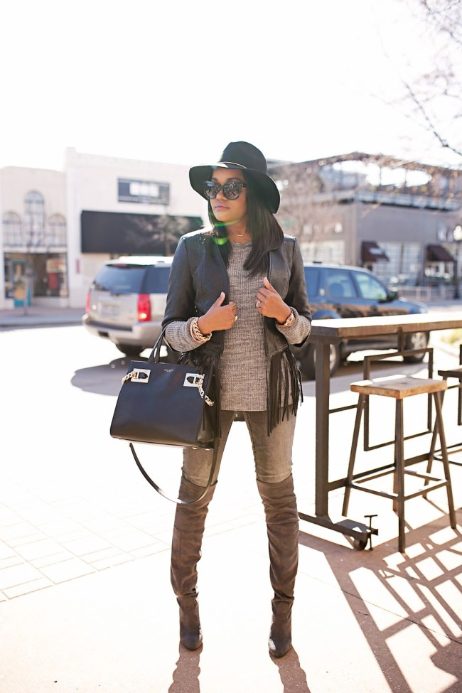 how to wear fringe- black fringe leather jacket- h&m gray jeans- steve madden gorgeous over the knee boot- look for less stuart weitzman- lace up boots- gray boots- target black fedora hat- henri bendel bag- fashion blogger- black fashion blogger- dallas blogger- stuart weitzman dupe