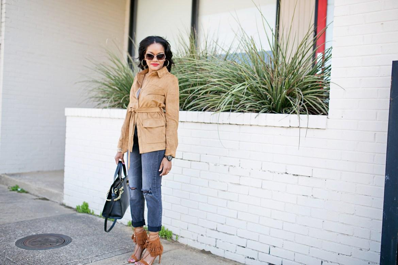 steve madden shay sandals, fringe sandals, suede jacket, h&m girlfriend jeans, gray and camel outfit, henri bendel whitney satchel, dallas fashion blogger, fashion blogger, how to wear fringe