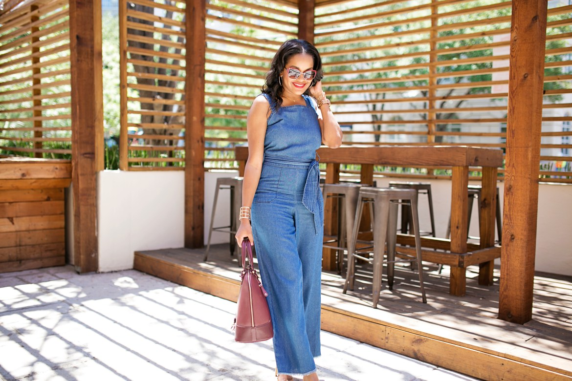 denim jumpsuit- burgundy handbag- fashion blogger