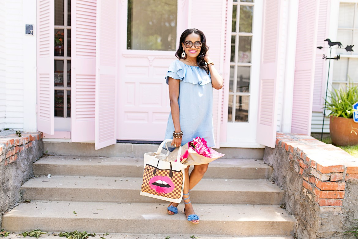 off shoulder denim dress, zara dress, my other tote bag, my other bag, recycled designer tote bag, spring fashion, denim dress, how to wear off shoulder dress, steve madden sweetyy, fringe sandals, lace up sandals, dallas blogger, fashion blogger, black girl blogger