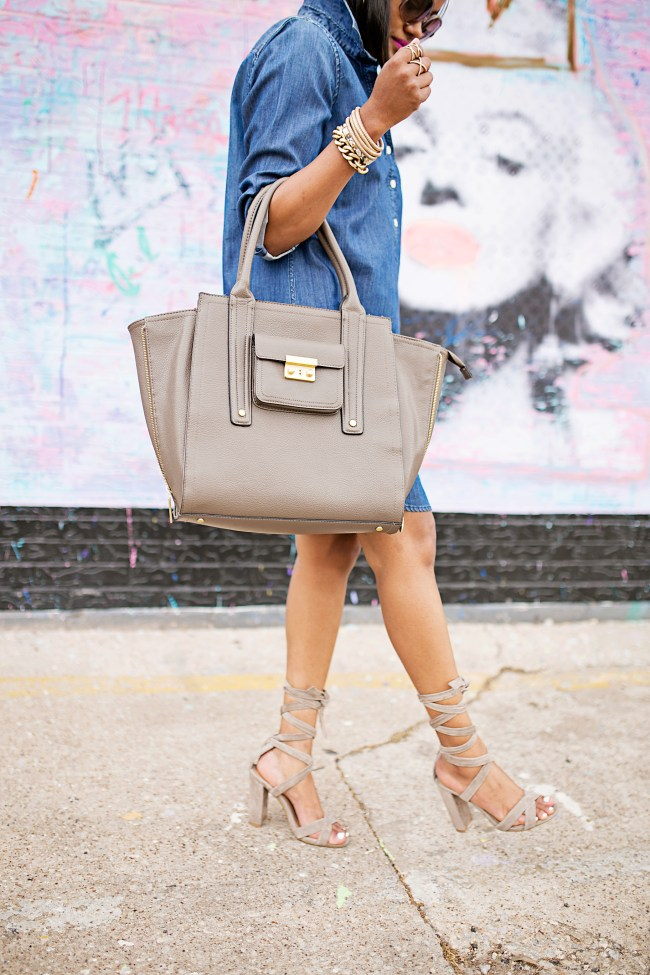 denim dress, j crew factory, how to wear denim dress, steve madden christey, philip lim for target, spring fashion, casual outfit, mommy style, arm candy, lace up sandals, taupe sandals, dvf sunglasses, dallas fashion blogger, black fashion blogger,