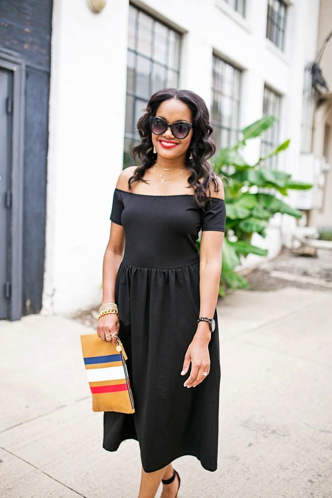 SheIn off shoulder dress, little black dress, how to wear off shoulder dress, clare v supreme clutch, zara platform heels, target cat eye sunglasses, dallas fashion blogger, black fashion blogger