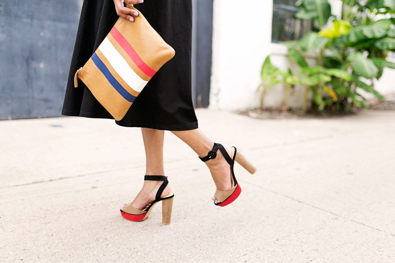 clare v supreme clutch, zara platform heels, fashion blogger, dallas fashion blogger, midi black dress, affordable fashion