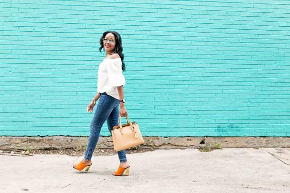 SheIn off shoulder blouse, off shoulder trend, mirror aviator sunglasses, how to wear off shoulder, summer daytime style inspiration, zara mule sandals