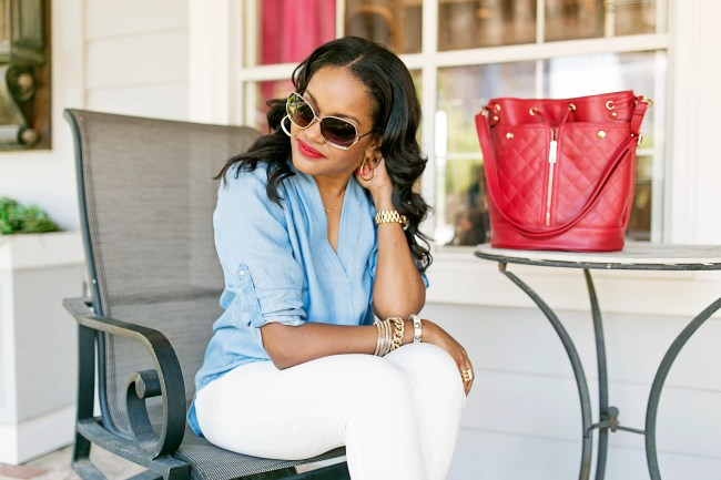 target denim shirt, justfab bucket bag, target aviator sunglasses