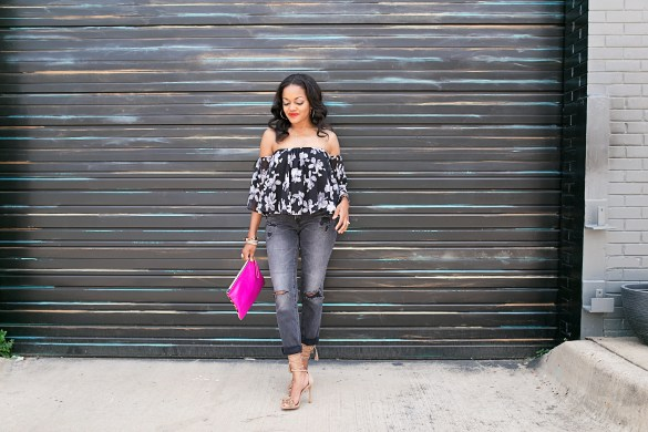 dallas fashion blogger, black fashion blogger, floral off shoulder top, steve madden sassey, ily couture off shoulder top