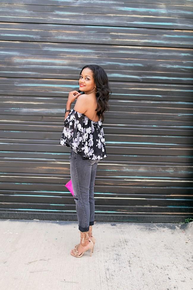 dallas fashion blogger, black fashion blogger, floral off shoulder top, steve madden sassey, ily couture off shoulder top