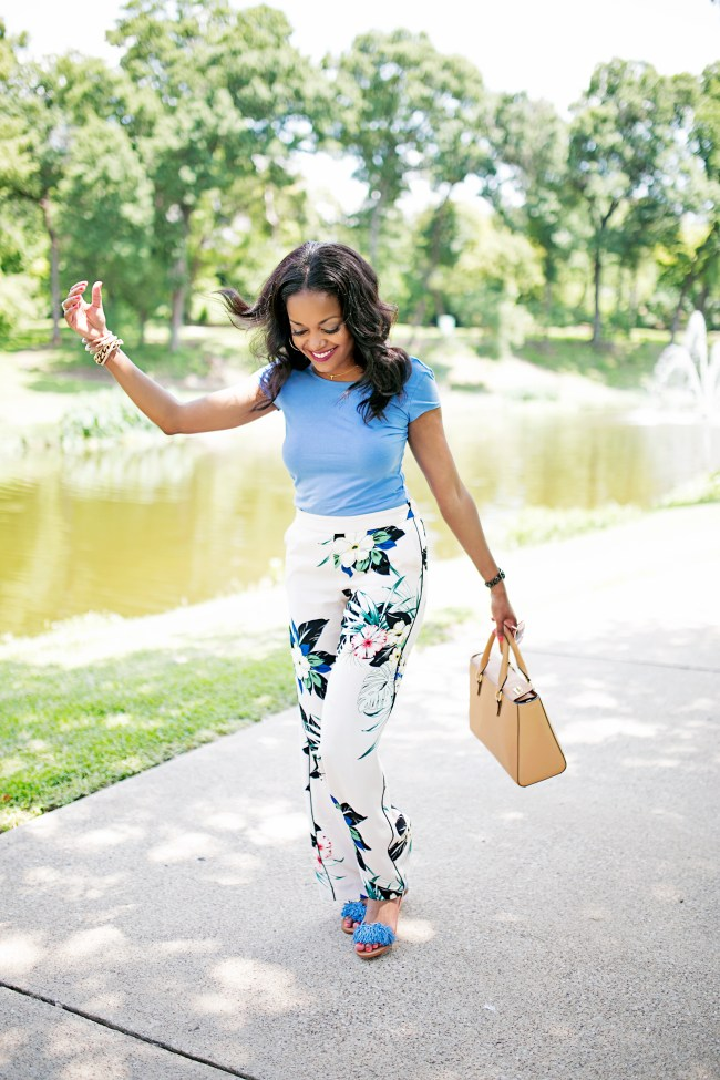 ZARA FLORAL PANTS, HENRI BENDEL, DALLAS BLOGGER, BLACK GIRL BLOGGER