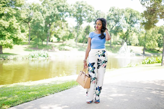 ZARA FLORAL PANTS, DALLAS BLOGGER