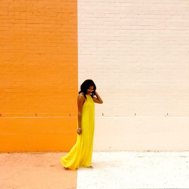 sugar and cloth color wall, houston texas, dallas blogger, yellow asos maxi dress, road trip,