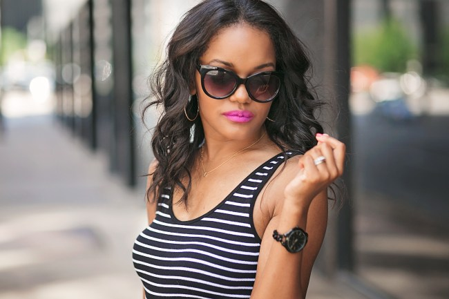 "h&m striped open back bodysuit, dallas fashion blogger, black fashion blogger, colourpop ""privacy please"" liquid lipstick, dallas blogger, fashion blogger, black blogger, target cat eye sunglasses, tom ford dupe"
