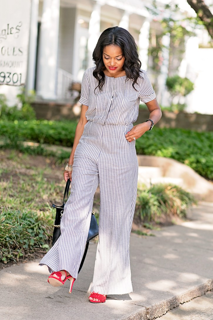 love verity, striped jumpsuit, steve madden fringe pumps, fall fashion, transitional pieces, how to wear jumpsuit, dallas blogger, black fashion blogger