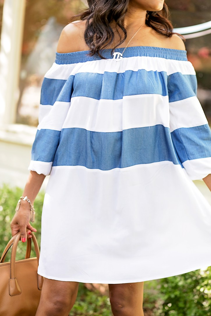 sheIn off shoulder dress, monogram necklace, off shoulder dresses, off shoulder trend, dallas blogger, fashion blogger, black fashion blogger, tory burch handbag
