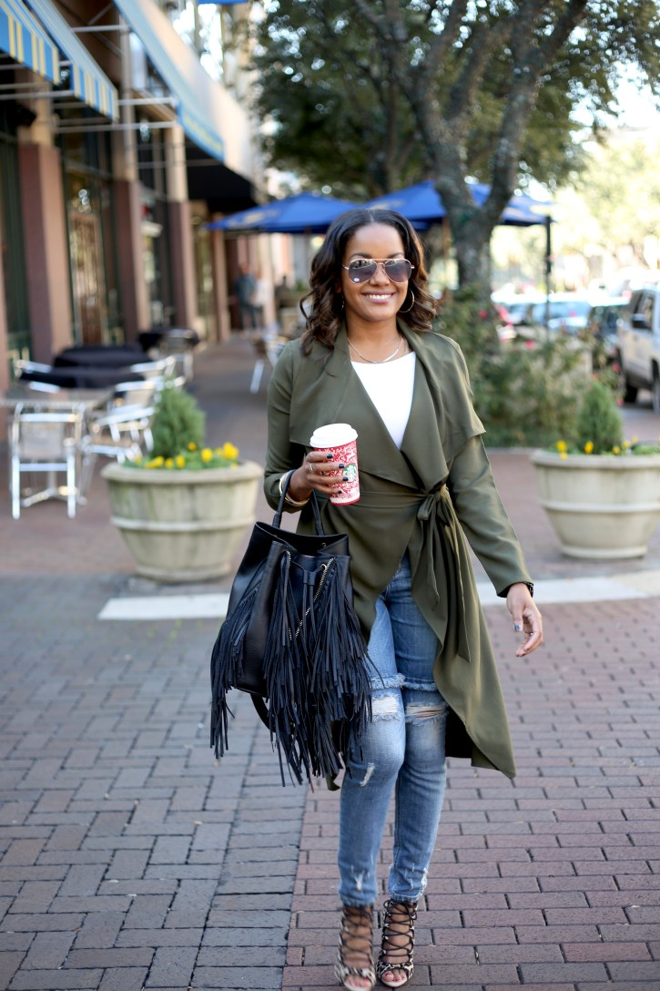 PINK BLUSH MATERNITY, olive trench coat, OLIVE GREEN TRENCH COAT, BLACK RIPPED JEANS, FALL FASHION, FALL CASUAL OUTFIT, OLIVE GREEN TRENCH COAT, OLIVE GREEN DUSTER, AFFORDABLE TRENCH COAT, ZARA FRINGE BACKPACK,
