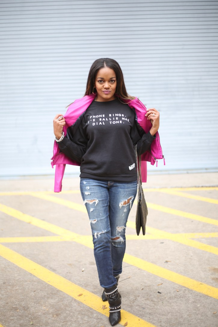mess in a bottle, sallie mae sweatshirt, sallie mae dial tone sweatshirt, logo sweatshirt, women graphic sweatshirt, pink moto jacket, dallas blogger, black fashion blogger
