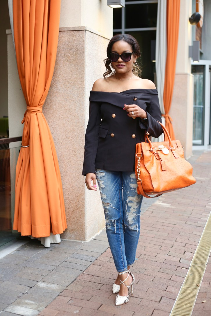 Off Shoulder Blazer, Shein blazer, spring fashion, american eagle ripped ankle jeans, steve madden lace up raela pumps, michael kors ostrich hamilton bag, target cat eye sunglasses, dallas blogger, black girl blogger