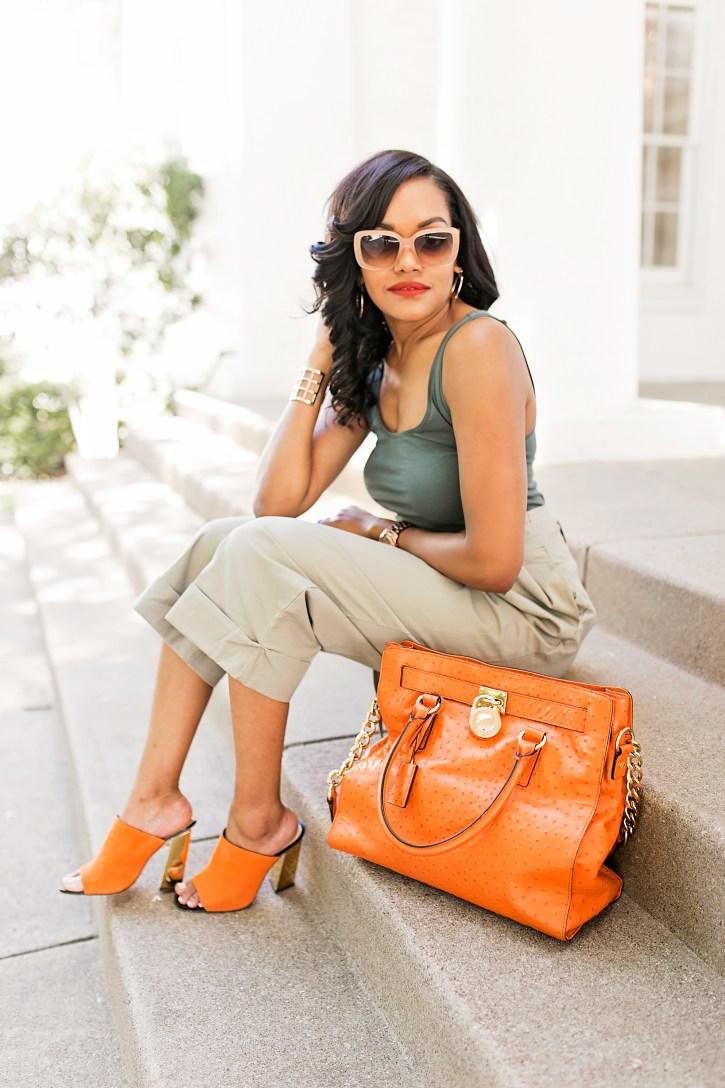 high waisted pants, paperbag pants, bobbi brown sunglasses, michael kors hamilton bag, zara mules, how to wear paperbag pants