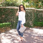 off shoulder, how to wear off shoulder, off shoulder trend, white off shoulder top, off shoulder top under $100, mules, gigi new york convertible clutch, dallas blogger, black girl blogger