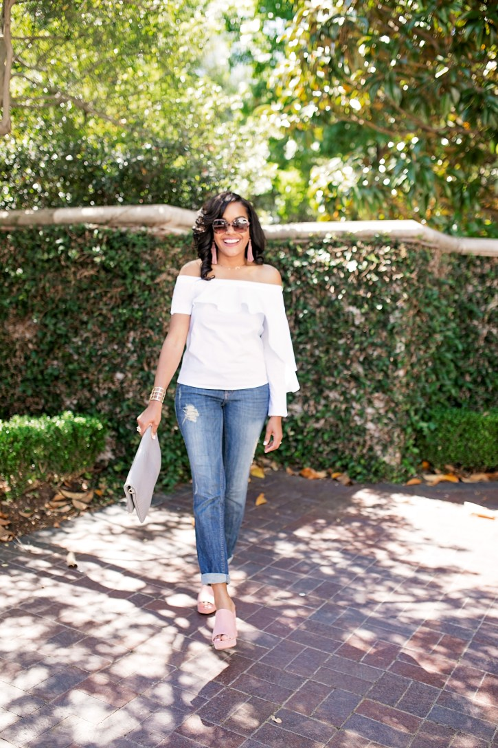 off shoulder tops and off shoulder dresses, how to wear off shoulder, off shoulder trend, white off shoulder top, off shoulder top under $100, mules, gigi new york convertible clutch, dallas blogger, black girl blogger