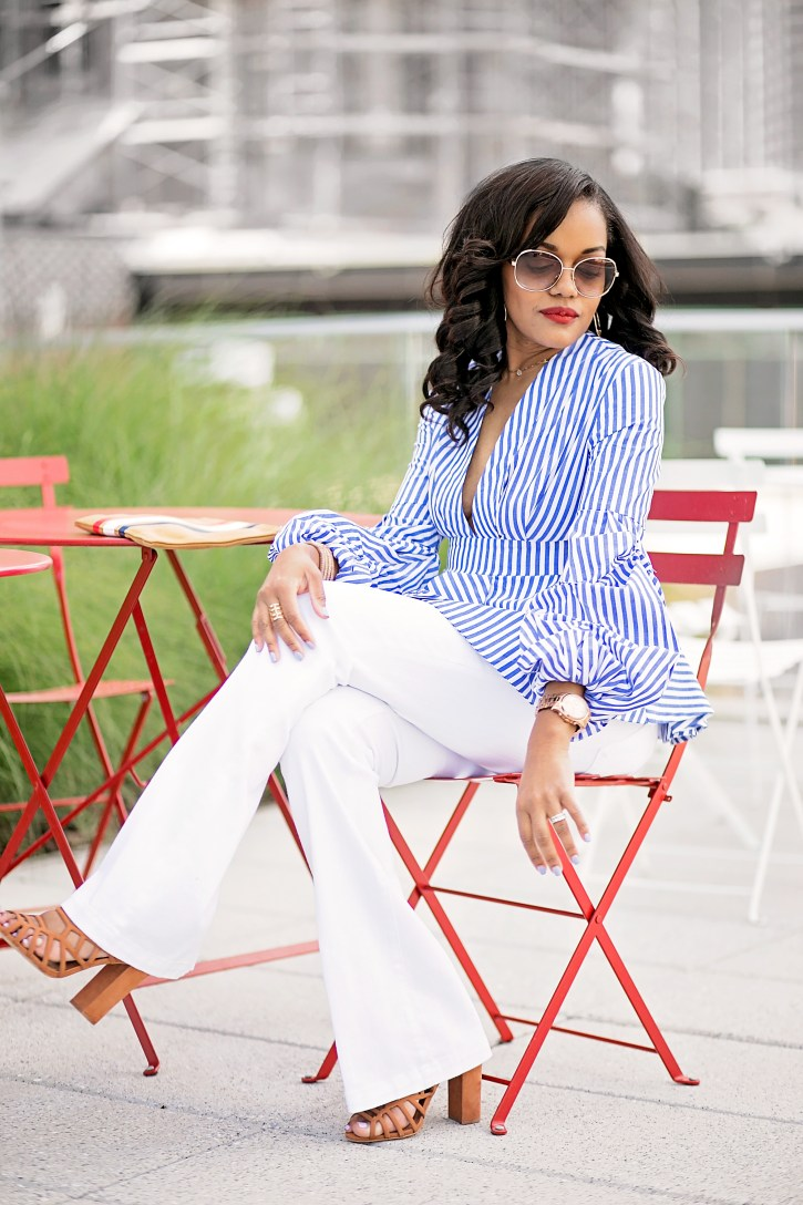 like to know it, shein, statement blouse, bell sleeve blouse, puff sleeve blouse, spring fashion, how to wear white jeans, dallas blogger, clare v  handbags