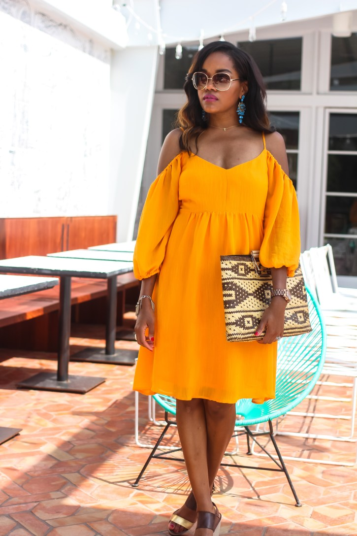 anthropologie sale, anthropologie sale, summer dress under $50, cold shoulder dress, yellow summer dress, straw tote bag, breathable summer dresses, carina open shoulder dress, perfect vacation dress