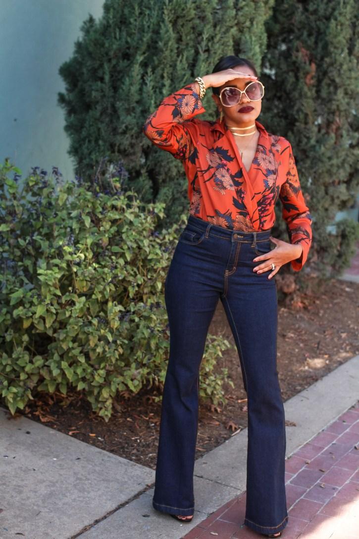 zara dupe bodysuit, shein, floral bodysuit, 70s style fashion, 70s fashion inspo, floral bodysuit, zara bodysuit dupe, how to wear bodysuit, fall fashion, black fashion blogger, dallas blogger