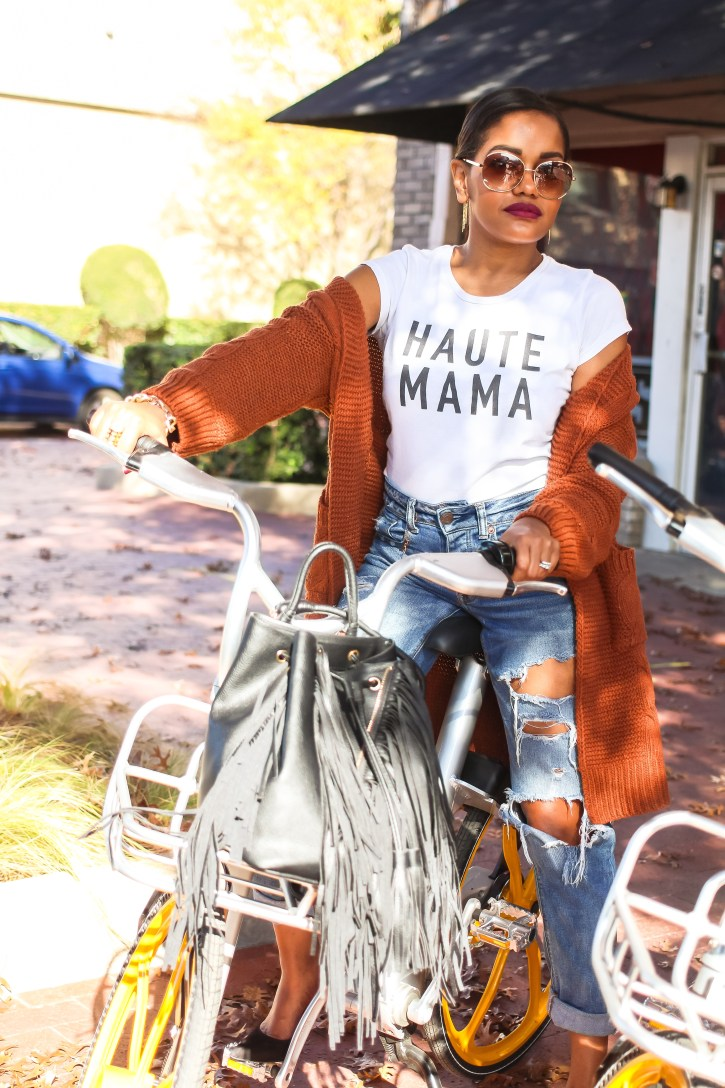 value of time, haute mama graphic tee, graphic tee, best boyfriend jeans, cardigan and boyfriend jeans, fall transitional outfit, casual weekend outfit, fashion blogger, dallas blogger, black fashion blogger, shein cardigan