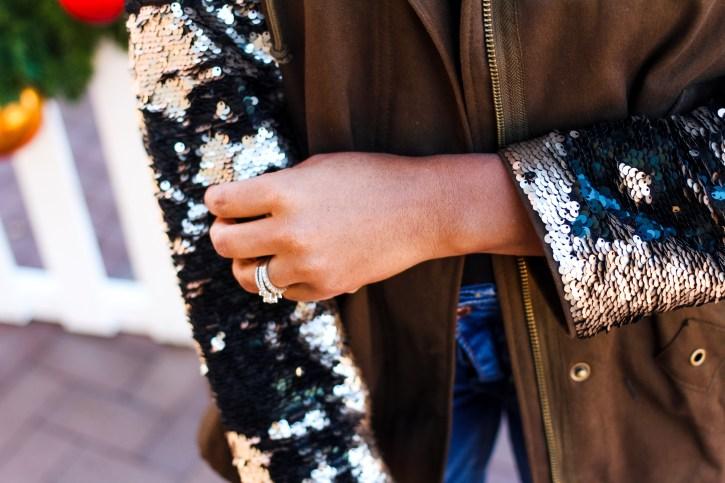 sequin sleeve jacket, zara jacket, christmas outfit inspo, sequin jacket, henri bendel sunglasses, winter coats, winter parka, dallas blogger, fashion blogger, black fashion blogger