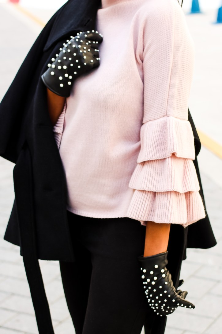 Poshmark, zara, floral ankle booties, pearl leather gloves, maternity fashion, pregnancy fashion, maternity style, bump style, shein, pink ruffle sleeve sweater, zara pearl leather gloves, dallas blogger, black fashion blogger