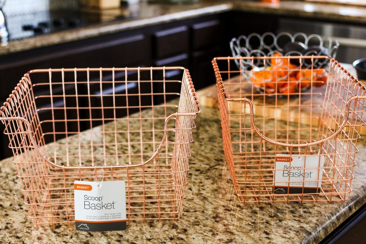 pinterest inspired, pantry makeover, rose gold wire baskets, rose gold storage, pantry makeover, pinterest, spring cleaning, pantry organization ideas, organization inspo, dallas blogger