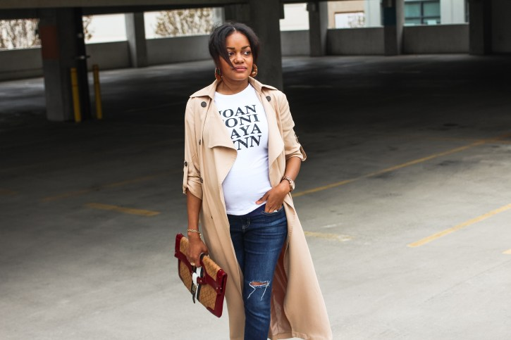 trench coat, trench coat duster, spring fashion, affordable trench coat, maternity style, bump style, pregnancy fashion, l.a.m.b. handbag, how to wear white shoes, how to wear white boots, girlfriends tee, gold label tee, dallas blogger, black fashion blogger, target fashion
