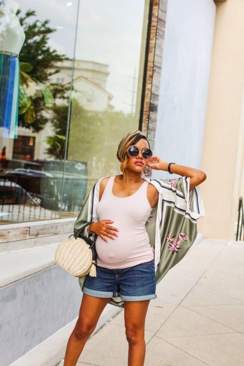 a new day cape, target silk cape, how to wear a kimono, kimono style, cape summer style, instagram, unfollow on instagram, how to style a turban headband, maternity style, maternity fashion, bump style, summer maternity fashion, how to style the bump, straw bag, target straw handbag, chloe dupe sunglasses, black fashion blogger, dallas blogger, A New Day by Target, unfollow game on instagram