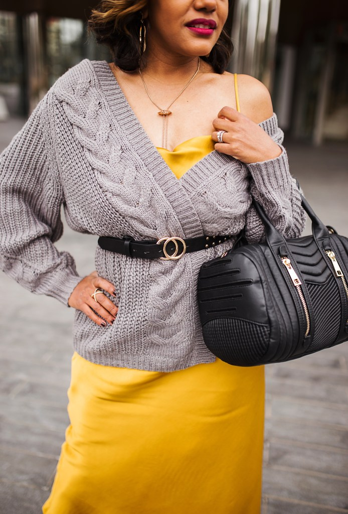 satin slip dress, slip dress outfit, satin slip dress outfit, how to wear slip dress, slip dress and cardigan outfit, zara slip dress, charcoal gray and yellow outfit, winter fashion outfit ideas, how to style slip dress, dallas blogger, black fashion blogger