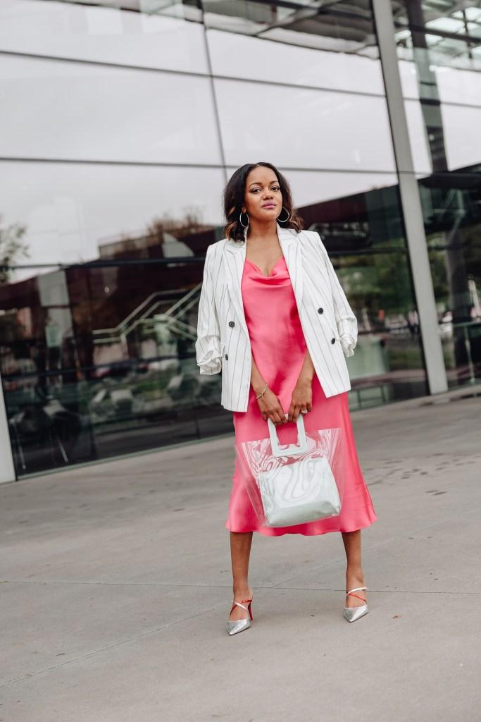 slip dress with blazer, slip dress & blazer, slip dress inspo, affordable slip dress, pink slip dress, zara pink slip dress, slip dress street style, how to wear slip dress, spring dresses, spring dress inspo