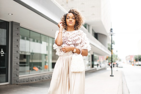 summer nude outfit, nude summer outfit, monochromatic summer style nude summer outfit idea, palazzo pants outfit idea, palazzo pants outfit, see thru top outfit, dallas fashion blogger, black fashion blogger, dallas fashion, street style fashion ideas, summer vacation outfit, nude summer outfit inspo, monochromatic outfit idea, neutral summer outfit idea, cream outfit idea, street style summer outfit, tulle top outfit, zara tulle top, wide leg satin pants,